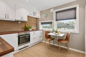 blinds in new village kitchen